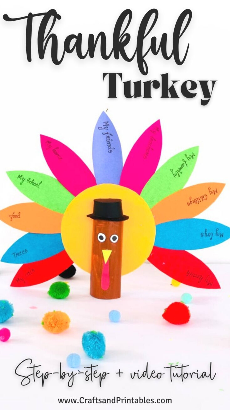 Thankful Turkey Craft for Kids PIN Thanksgiving Thankful Turkey Craft for Kids