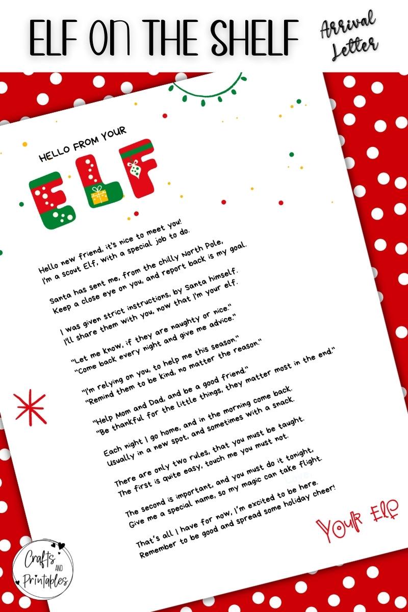 Elf on the Shelf Arrival Letter Template