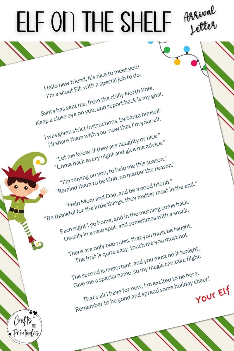 Elf on the Shelf Arrival Letter Example