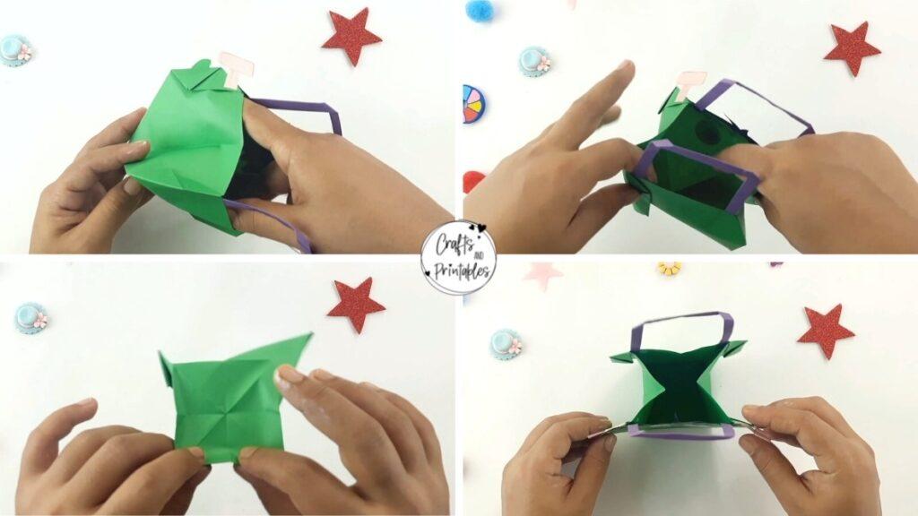 Easy Halloween Origami Bag Frankenstein (7)