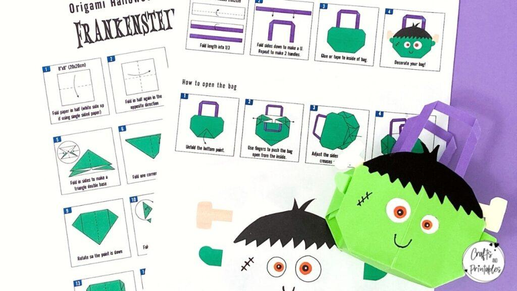 Easy Halloween Origami Bag Frankenstein Template