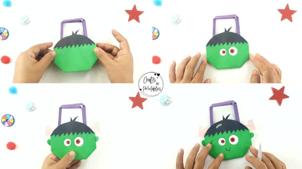 Easy Halloween Origami Bag Frankenstein face