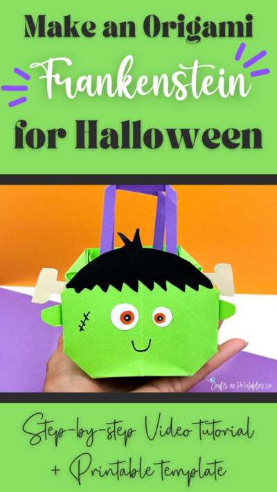 Halloween Origami Bag Frankenstein CNP Vertical